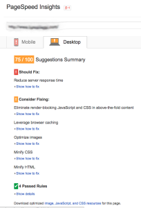 PageSpeed Score 75